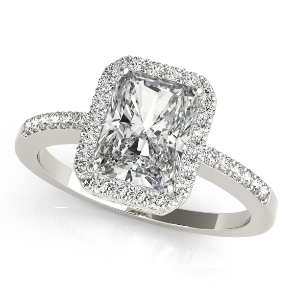 Platinum Emerald Halo Engagement Ring Champaign Jewelers Champaign, IL