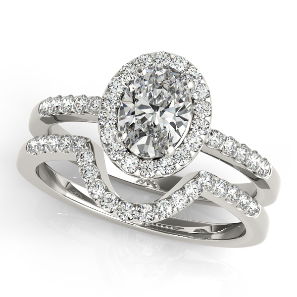 14K White Gold Oval Halo Engagement Ring Image 3  ,