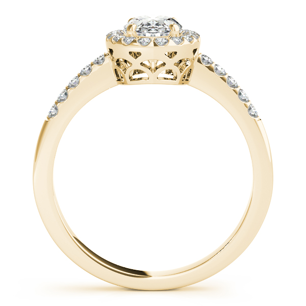 10K Yellow Gold Oval Halo Engagement Ring Image 2  ,