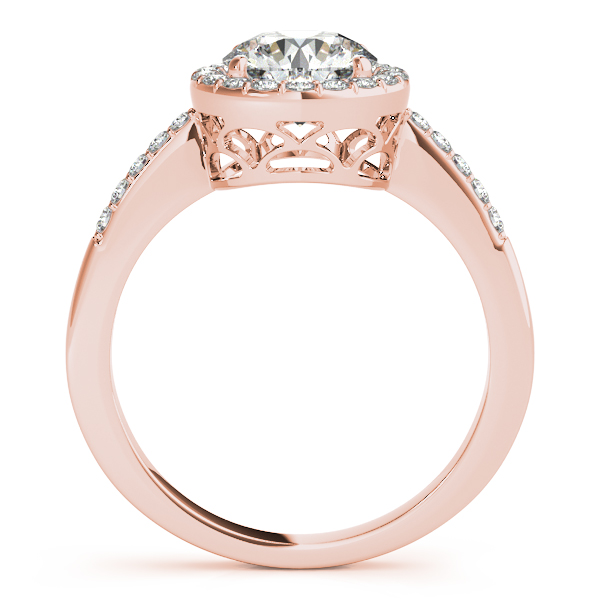 14K Rose Gold Round Halo Engagement Ring Image 2 D. Geller & Son Jewelers Atlanta, GA