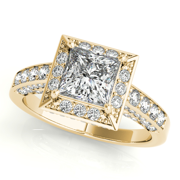 14K Yellow Gold Halo Engagement Ring Champaign Jewelers Champaign, IL