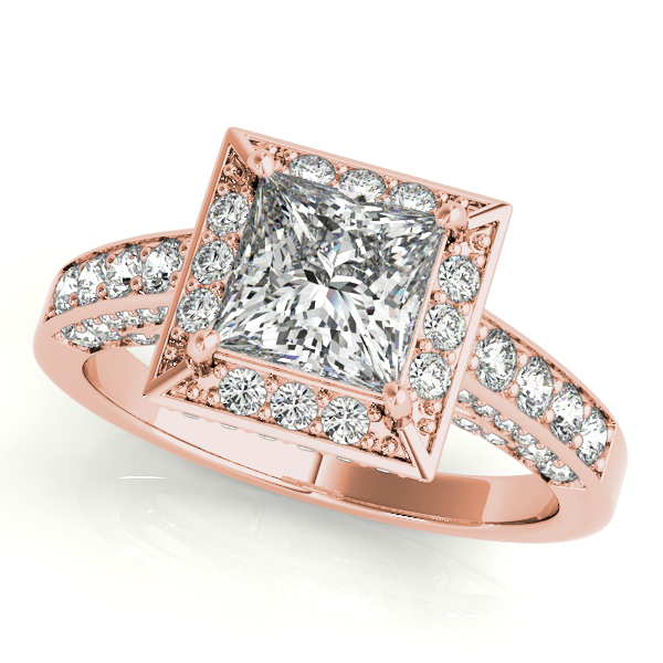 14K Rose Gold Halo Engagement Ring Champaign Jewelers Champaign, IL