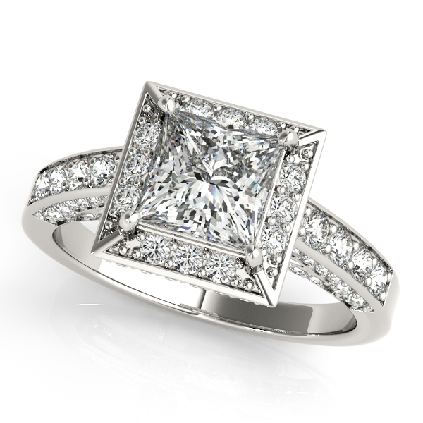 10K White Gold Halo Engagement Ring Couch's Jewelers Anniston, AL
