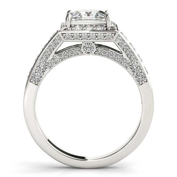 10K White Gold Halo Engagement Ring Image 2 Couch's Jewelers Anniston, AL