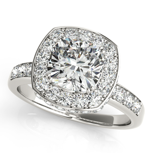 14K White Gold Halo Engagement Ring Champaign Jewelers Champaign, IL