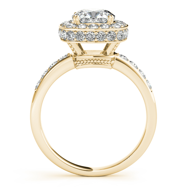 18K Yellow Gold Halo Engagement Ring Image 2 Studio 2015 Woodstock, IL