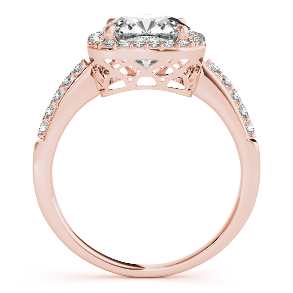 14K Rose Gold Halo Engagement Ring Image 2 D. Geller & Son Jewelers Atlanta, GA