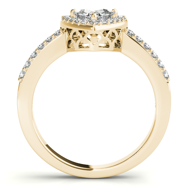 14K Yellow Gold Pear Halo Engagement Ring Image 2  ,