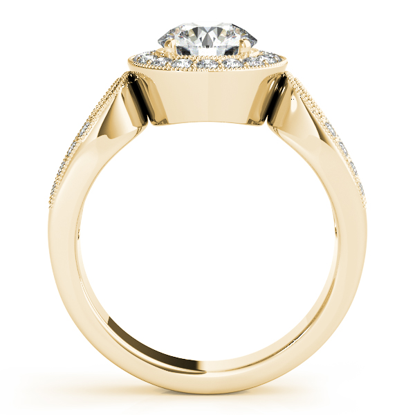 18K Yellow Gold Round Halo Engagement Ring Image 2 Bay Area Diamond Company Green Bay, WI