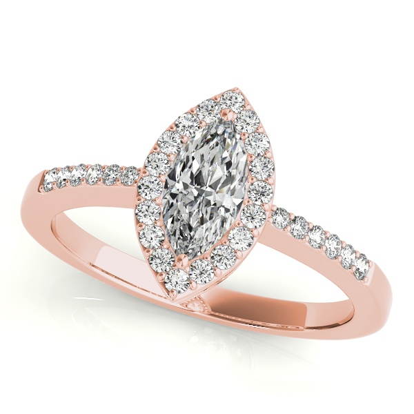 18K Rose Gold Halo Engagement Ring John Herold Jewelers Randolph, NJ