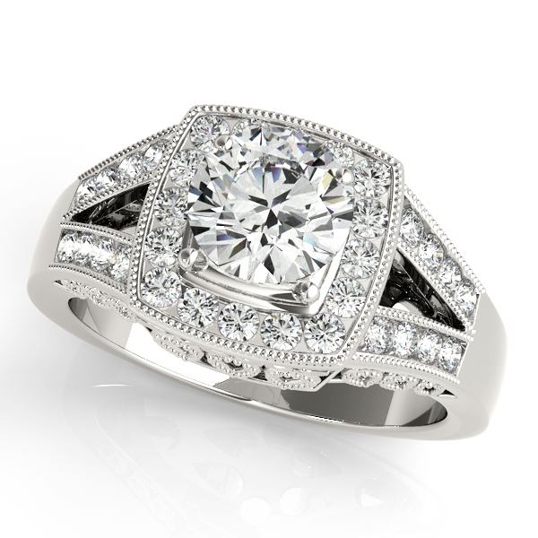 10K White Gold Round Halo Engagement Ring Couch's Jewelers Anniston, AL
