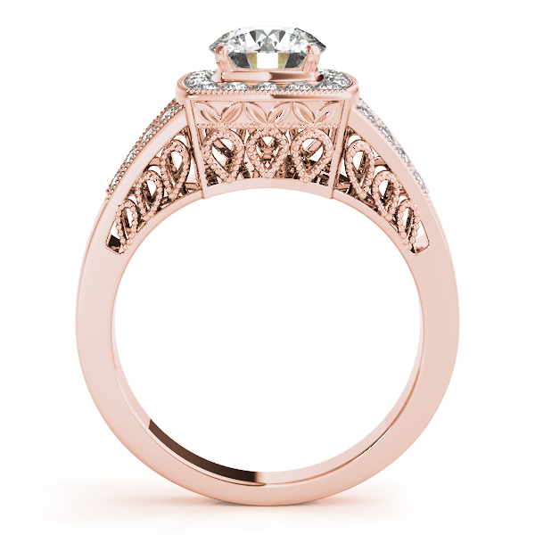 14K Rose Gold Round Halo Engagement Ring Image 2 Bay Area Diamond Company Green Bay, WI
