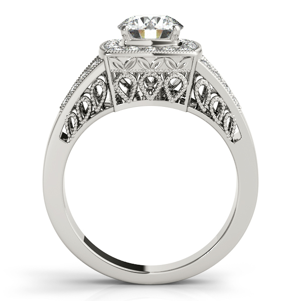 14K White Gold Round Halo Engagement Ring Image 2 D. Geller & Son Jewelers Atlanta, GA