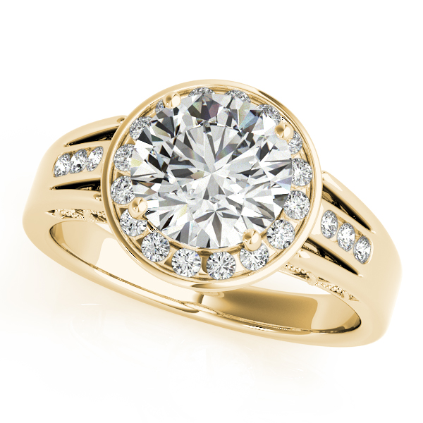 18K Yellow Gold Round Halo Engagement Ring Enhancery Jewelers San Diego, CA