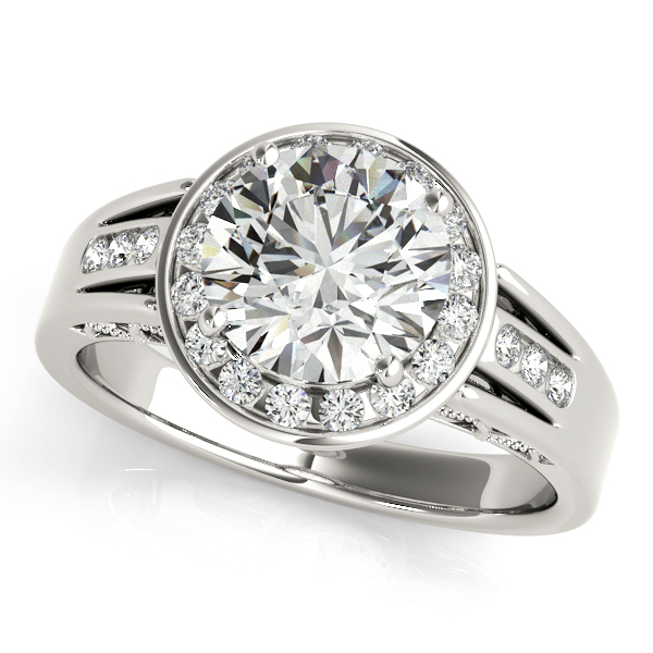 14K White Gold Round Halo Engagement Ring Bay Area Diamond Company Green Bay, WI