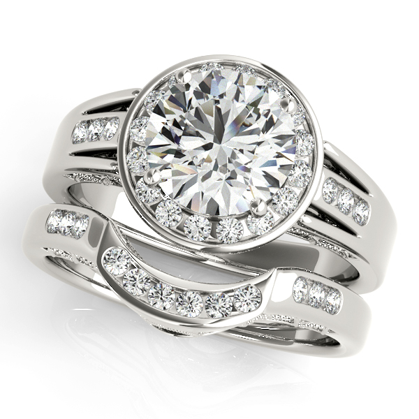 14K White Gold Round Halo Engagement Ring Image 3 Bay Area Diamond Company Green Bay, WI