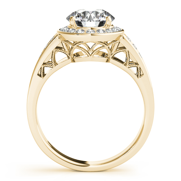 14K Yellow Gold Round Halo Engagement Ring Image 2 D. Geller & Son Jewelers Atlanta, GA