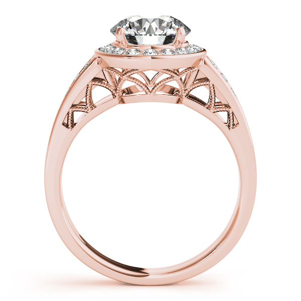 18K Rose Gold Round Halo Engagement Ring Image 2 Bay Area Diamond Company Green Bay, WI