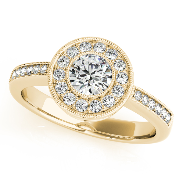 10K Yellow Gold Round Halo Engagement Ring Enhancery Jewelers San Diego, CA