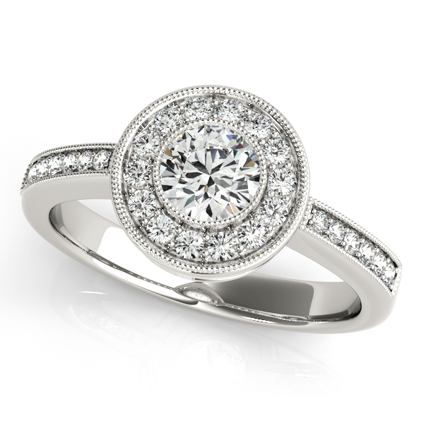 14K White Gold Round Halo Engagement Ring Studio 2015 Woodstock, IL