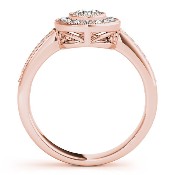 14K Rose Gold Round Halo Engagement Ring Image 2 Enhancery Jewelers San Diego, CA