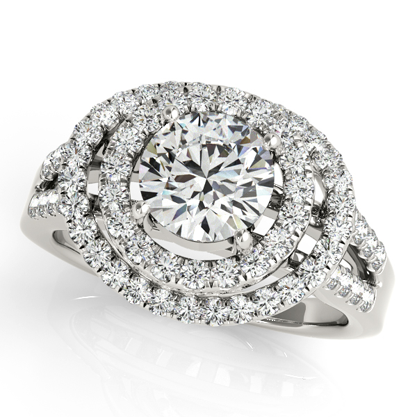 14K White Gold Round Halo Engagement Ring Champaign Jewelers Champaign, IL
