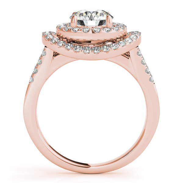 14K Rose Gold Round Halo Engagement Ring Image 2 Studio 2015 Woodstock, IL