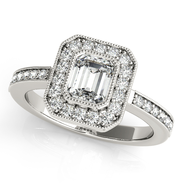 14K White Gold Halo Engagement Ring Enhancery Jewelers San Diego, CA