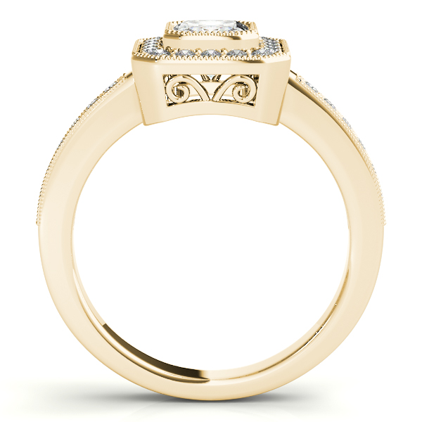 10K Yellow Gold Emerald Halo Engagement Ring Image 2  ,