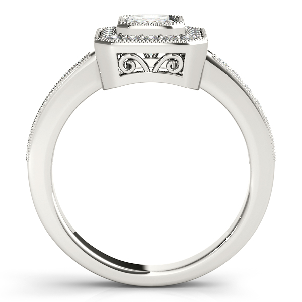 14K White Gold Emerald Halo Engagement Ring Image 2  ,