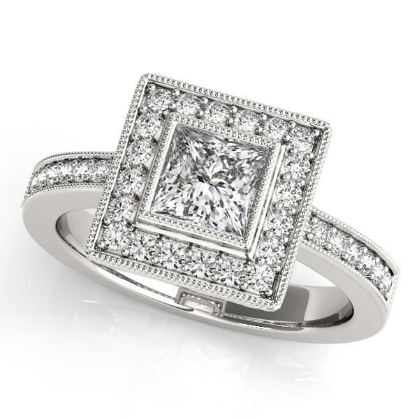 10K White Gold Halo Engagement Ring Bay Area Diamond Company Green Bay, WI
