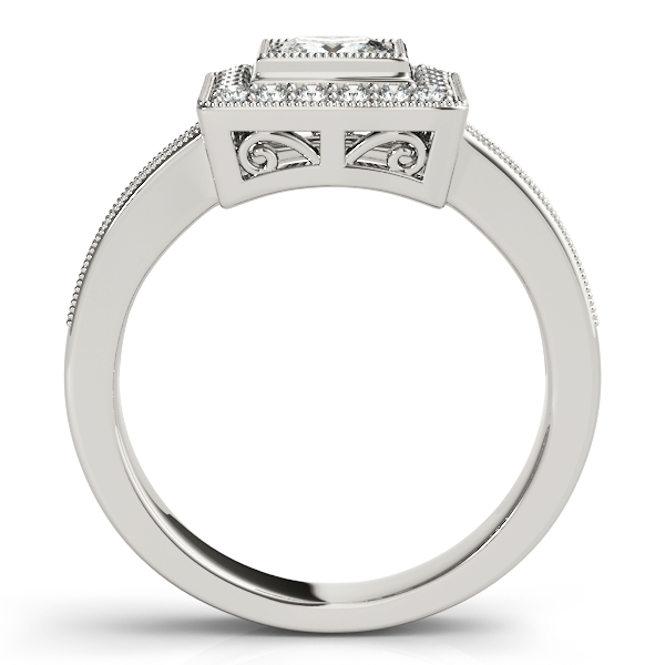 14K White Gold Halo Engagement Ring Image 2 Studio 2015 Woodstock, IL