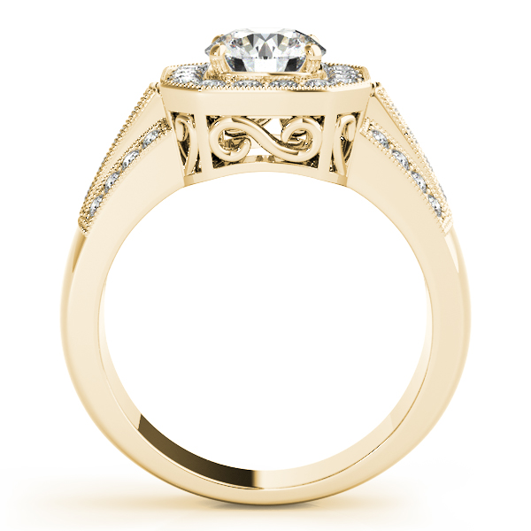 14K Yellow Gold Round Halo Engagement Ring Image 2 John Herold Jewelers Randolph, NJ