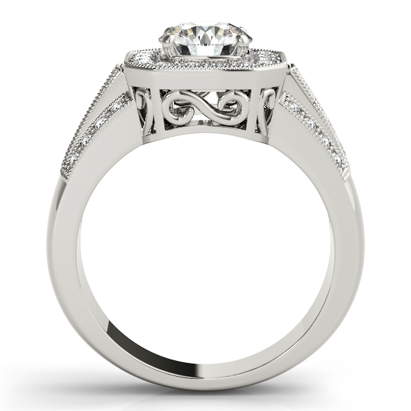 14K White Gold Round Halo Engagement Ring Image 2 Atlanta West Jewelry Douglasville, GA