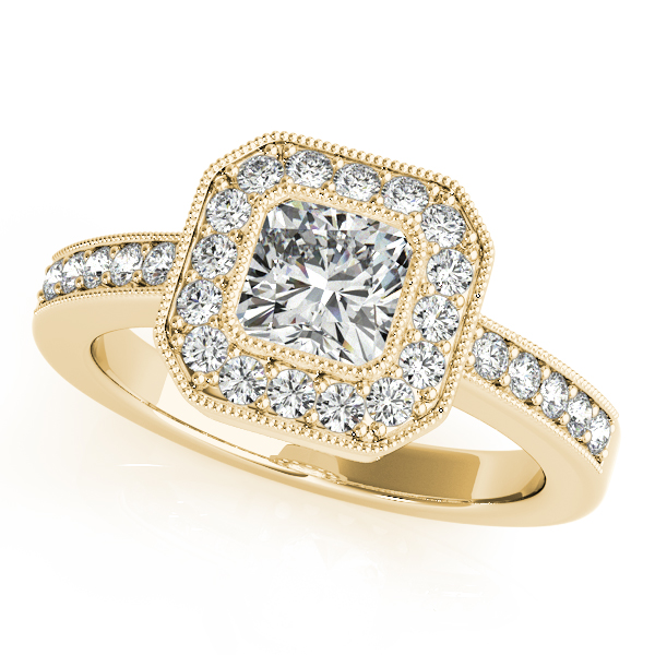 18K Yellow Gold Halo Engagement Ring Enhancery Jewelers San Diego, CA