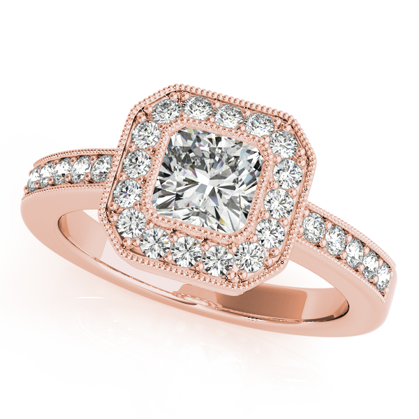 18K Rose Gold Halo Engagement Ring Bell Jewelers Murfreesboro, TN
