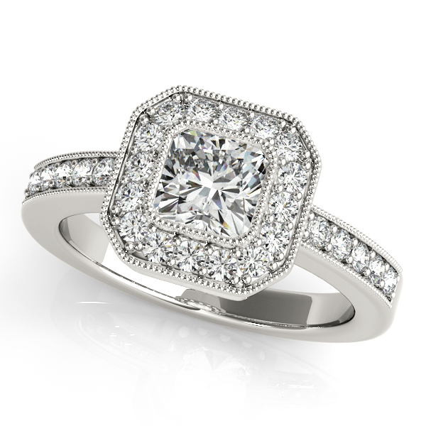 18K White Gold Halo Engagement Ring Enhancery Jewelers San Diego, CA