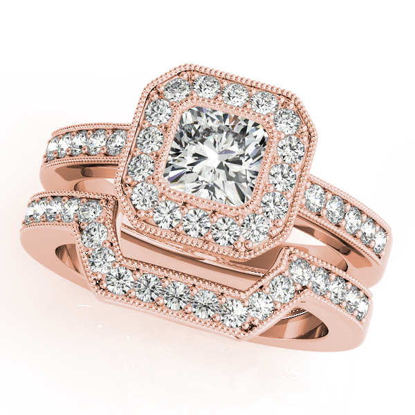 10K Rose Gold Halo Engagement Ring Image 3 Couch's Jewelers Anniston, AL