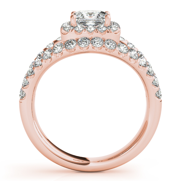 18K Rose Gold Halo Engagement Ring Image 2  ,