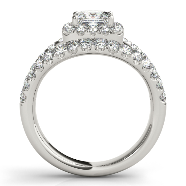 18K White Gold Halo Engagement Ring Image 2 Trinity Jewelers  Pittsburgh, PA