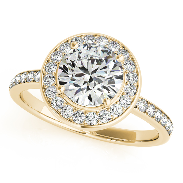 14K Yellow Gold Round Halo Engagement Ring Studio 2015 Woodstock, IL