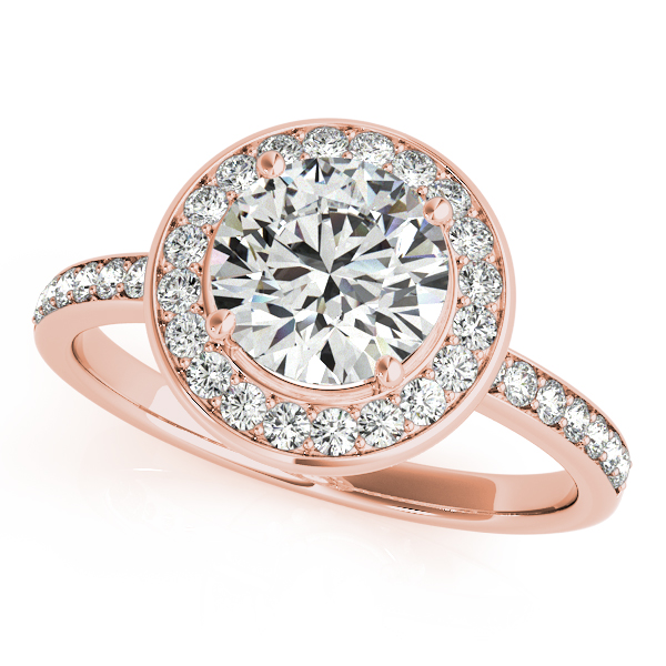 18K Rose Gold Round Halo Engagement Ring John Herold Jewelers Randolph, NJ