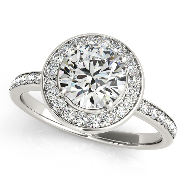 Platinum Round Halo Engagement Ring Studio 2015 Woodstock, IL