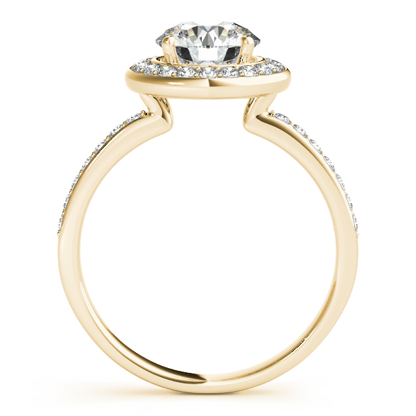 18K Yellow Gold Round Halo Engagement Ring Image 2 Rachel & Victoria Rancho Santa Fe, CA