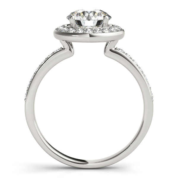18K White Gold Round Halo Engagement Ring Image 2 Bay Area Diamond Company Green Bay, WI