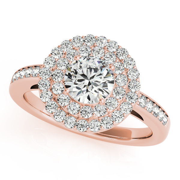 14K Rose Gold Round Halo Engagement Ring P.K. Bennett Jewelers Mundelein, IL