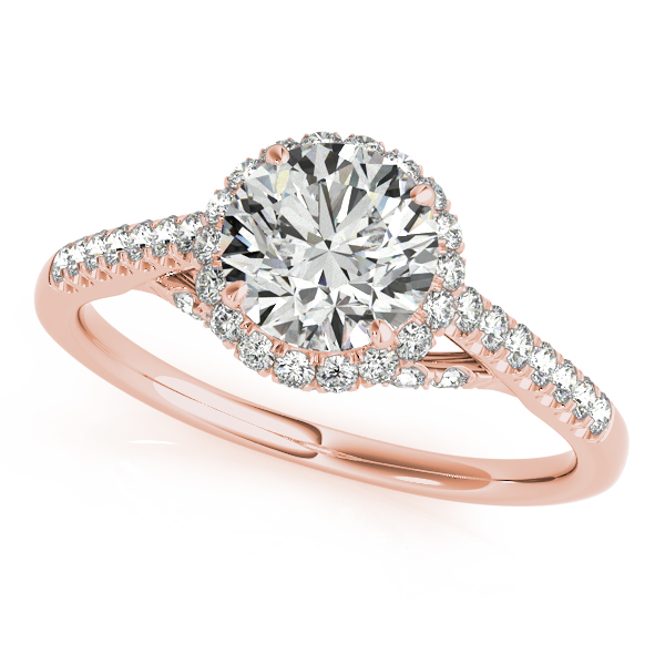 10K Rose Gold Round Halo Engagement Ring Robert Irwin Jewelers Memphis, TN