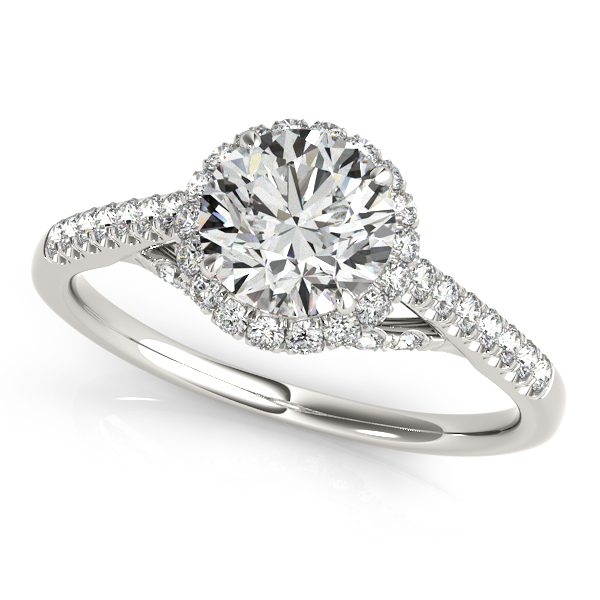 10K White Gold Round Halo Engagement Ring Champaign Jewelers Champaign, IL