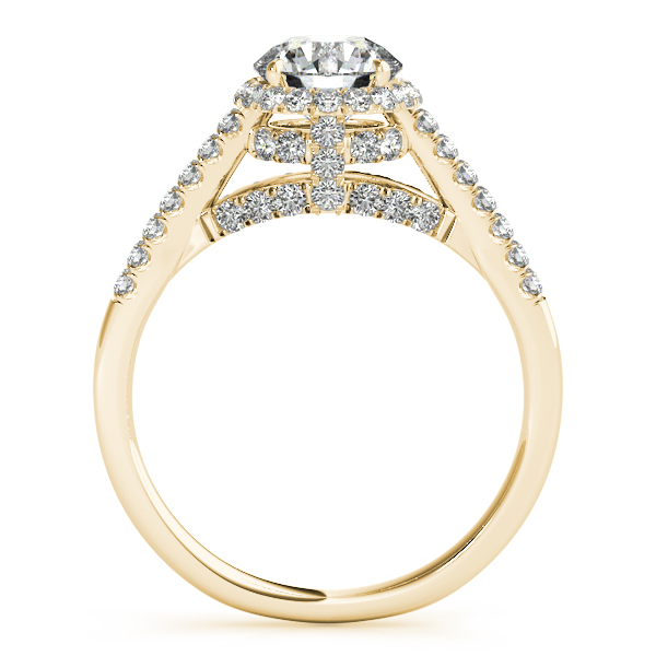 Semi-Mouts - 10K Yellow Gold Round Halo Engagement Ring - image #2