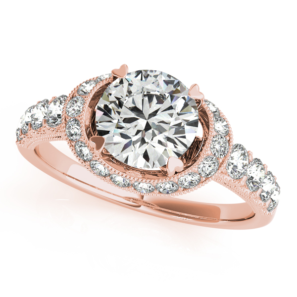 14K Rose Gold Round Halo Engagement Ring Gold Wolff Jewelers Flagstaff, AZ